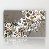 Diagonal flower – brown and olive green fiber Laptop & iPad Skin