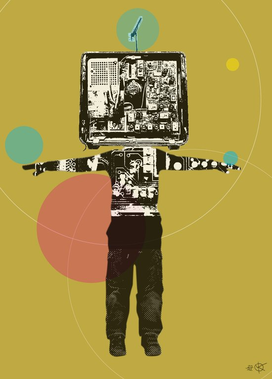Electric Kid Collage Art Print