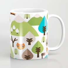 Wild camping trip with fox and wild animals illustration Mug