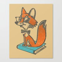 Fox Librarian - A Well Read Fox Canvas Print