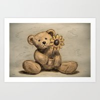 Teddybear with a sunflower Art Print