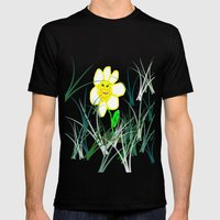 Happy Daisy Mens Fitted Tee Black SMALL