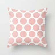 Polka Dots - Salmon Pink Throw Pillow