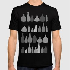 Bottles Black and White on Black Mens Fitted Tee Black SMALL