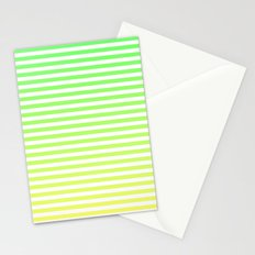 Beach Blanket - Green/Yellow Stripes Stationery Cards