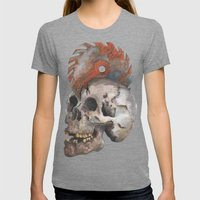 Inked up Skull Womens Fitted Tee Tri-Grey SMALL