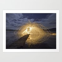 Fire Spinning on Loch Ard Art Print