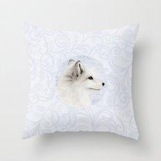 Polar Fox Profile Throw Pillow