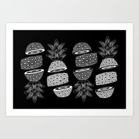 Pineapples (Dark/Sliced) Art Print