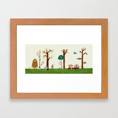 The forest animals are visited by Peacock Framed Art Print