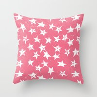 Linocut Stars- Blush & White Throw Pillow