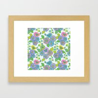 My birds and flowers on blue Framed Art Print
