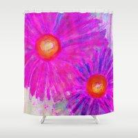 Bright Pink Sketch Flowe… Shower Curtain