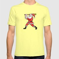 Santa Baseball Player Ba… Mens Fitted Tee Lemon SMALL
