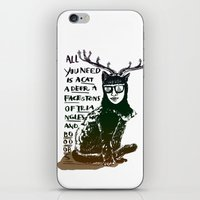Hipster Cat giving Smart Advice iPhone & iPod Skin