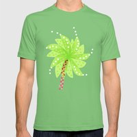 Pattern of Palm Tree-like Flowers Mens Fitted Tee Grass SMALL