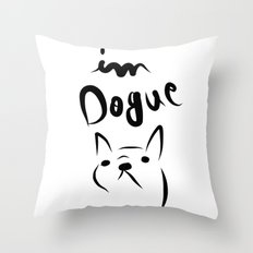 dogue french bulldog Throw Pillow