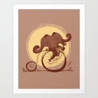 Happy Ride Curly Friend Art Print