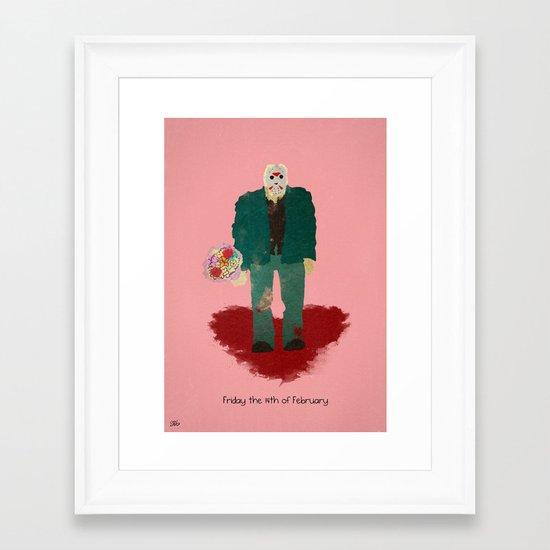 Friday the 14th of February (Monsters in Love) Framed Art Print