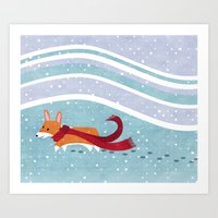 Winter Corgi Art Print