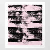 Pink Black Abstract texture  Art Print