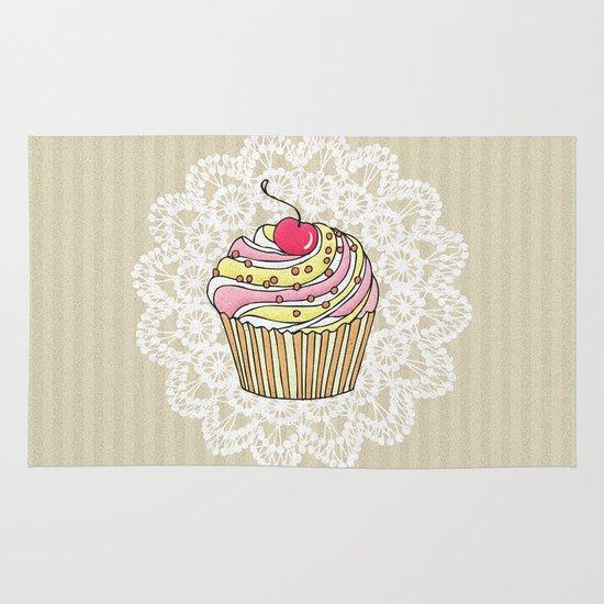 girly pink cute kawaii cupcake lace stripe pattern rug by