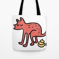 Pooping dog Tote Bag