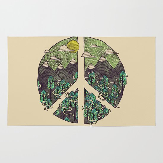 Peaceful Landscape Area & Throw Rug