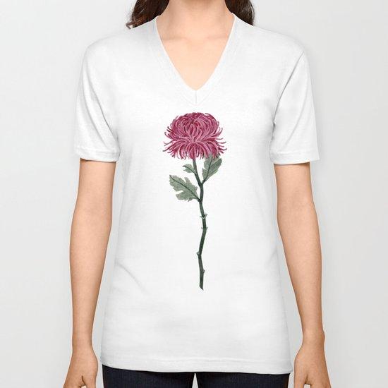 Pink Chrysanthemum V-neck T-shirt