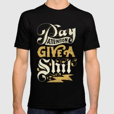 Pay Attention  Mens Fitted Tee Black SMALL
