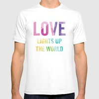 Love Lights Up The World Quote Mens Fitted Tee White SMALL