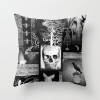Crow And Lace Throw Pillow