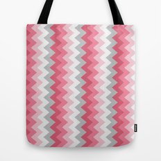 Chevron Pink & Grey Tote Bag