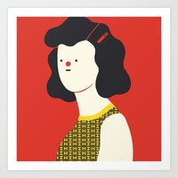 Red Woman Art Print