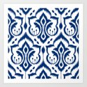 Ikat Damask Navy Art Print