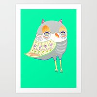 Owl Illustration, Owl Pr… Art Print