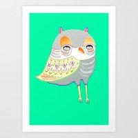 Owl Illustration, Owl Pr… Art Print