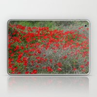 Beautiful Red Wild Anemone Flowers In A Spring Field  Laptop & iPad Skin