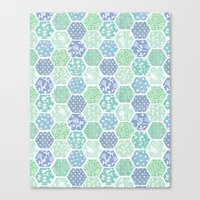 Cool Hex Patchwork Canvas Print