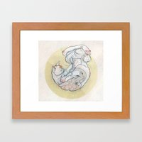 The lady and the cat. Framed Art Print