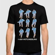 Hotline Bling (blue) Mens Fitted Tee Black SMALL