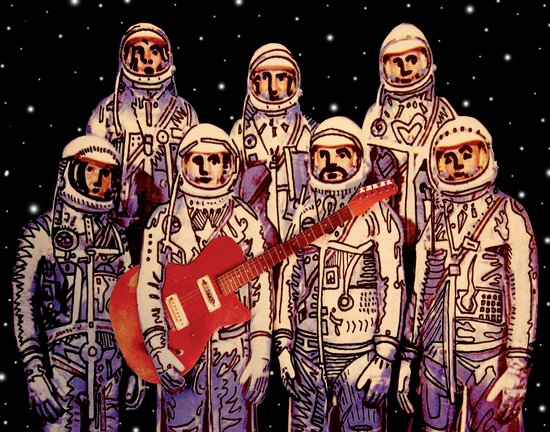 Astronauts with Guitar Canvas Print