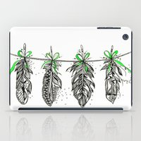 Feather Bunting. Green Ribbon iPad Case
