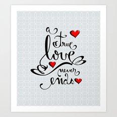 Valentine Love Calligraphy and Hearts Art Print