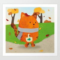 A Lovely Walk To The Shops In Autumn Art Print