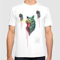 Tiger With F**king Lazers Mens Fitted Tee White SMALL