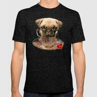 A little pug of tea Mens Fitted Tee Tri-Black SMALL