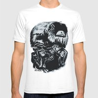 Old World Monkeys Mens Fitted Tee White SMALL