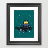 Owl In The Snow Framed Art Print