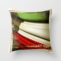 Grunge Sticker Of Kuwait… Throw Pillow